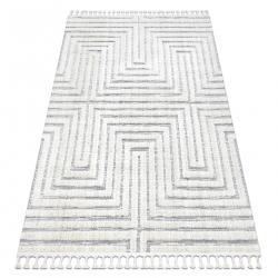 Szőnyeg SEVILLA Z788A labirintus, görög fehér / szürke Rojt Berber shaggy