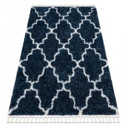 Carpet UNION 3488 Trellis blue / cream Fringe Berber Moroccan shaggy