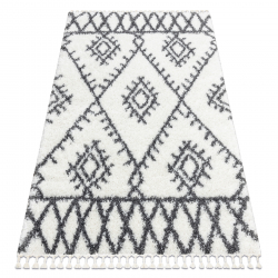 Koberec UNION 3481 Cikcak mreža, krémová / šedý strapce, Maroko Shaggy