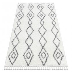 Carpet UNION 3374 Diamonds, chain cream / grey Fringe Berber Moroccan shaggy