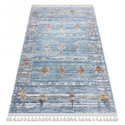 Modern carpet BELLE BF13C blue / beige Fringe