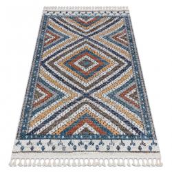 Modern carpet BELLE BG30C diamonds, ethnic blue / cream Fringe