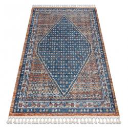 Moderný koberec BELLE BG58A tmavomodrý / béžový strapce