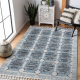Modern carpet BELLE BR22A beige / blue Fringe
