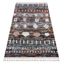Modern carpet BELLE BR36A black / pink Fringe