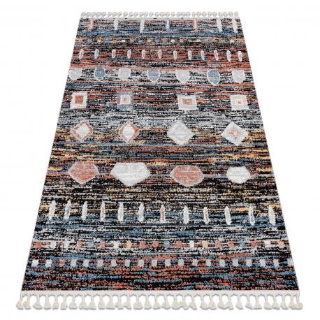 Moderný koberec BELLE BR36A čierna / ružový strapce