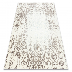 килим CORE 247A Орнамент Винтаге - структурно, две нива на руно, крем / кафяв