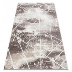 Dywan CORE 1818 Geometryczny - Strukturalny, dwa poziomy runa, kość słoniowa / biały