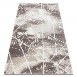 Koberec CORE 1818 Geometrický - štrukturálny, dve úrovne z rúna, slonová kosť / biely