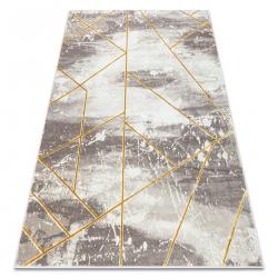 Koberec CORE 1818 Geometrický - štrukturálny, dve úrovne z rúna, slonová kosť / zlato
