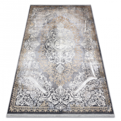 Moderný koberec LUCE 91 ornament vintage - Štrukturálny sivá / horčica