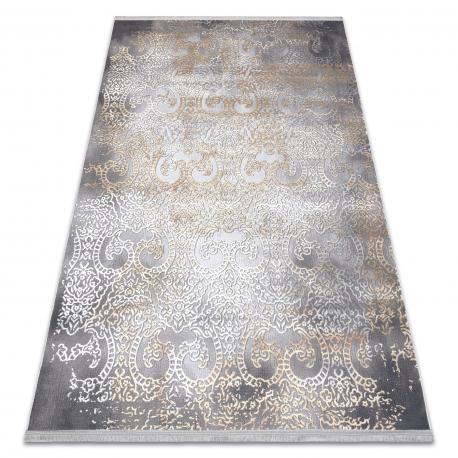 Moderný koberec LUCE 84 ornament vintage - Štrukturálny sivá / horčica