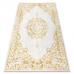 килим CORE 6268 Рамка, украшение сенчеста - структурни, две нива на руно, слонова кост / злато