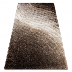 Modern shaggy carpet FLIM 006-B2 Waves - structural brown