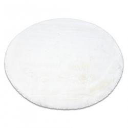 Модерен перален килим TEDDY кръг shaggy, плюшен, много дебел антихлъзгащ слонова костцвят