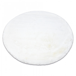 Modern washing carpet TEDDY circle shaggy, plush, very thick anti-slip ivory