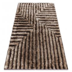 Modern shaggy carpet FLIM 010-B7 Maze - structural brown
