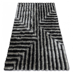 Dywan shaggy FLIM 010-B3 nowoczesny, Labirynt - Strukturalny, czarny / szary