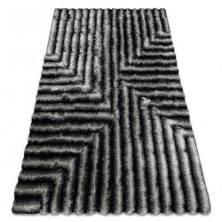 модерен килим FLIM 010-B3 рошав, лабиринт - structural черен / сив