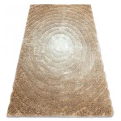 Modern shaggy carpet FLIM 008-B1 Circles - structural beige