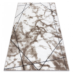 Modern carpet COZY Lina, geometric, marble - structural two levels of fleece brown