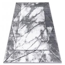 Covor modern COZY Cadre, cadru, marmură - structural două niveluri de lână gri