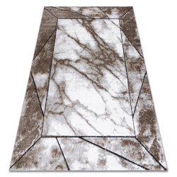 Moderní koberec COZY Cadre, rám, mramor - Strukturální, dvě úrovně rouna, hnědý