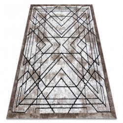 Covor modern COZY Tico, geometric - structural două niveluri de lână braun
