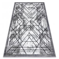 модерен килим COZY Tico, геометричен structural две нива на руно сив