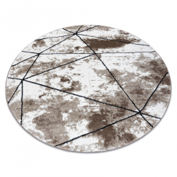 Modern carpet COZY Polygons Circle, geometric, triangles - structural two levels of fleece, brown