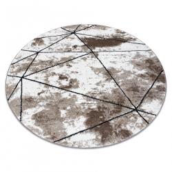 Moderní kulatý koberec COZY Polygons, geometrický,trojúhelníky - Strukturální, dvě úrovně rouna, hnědý