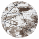 Dywan nowoczesny COZY Polygons Koło, geometryczny, trójkąty - Strukturalny, dwa poziomy runa brązowy