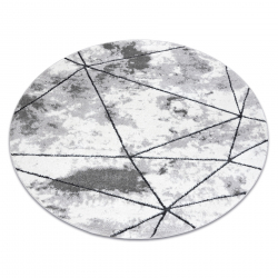 Modern carpet COZY Polygons Circle, geometric, triangles - structural two levels of fleece, grey