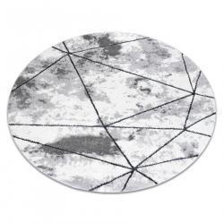 Moderní kulatý koberec COZY Polygons, geometrický,trojúhelníky - Strukturální, dvě úrovně rouna, šedá