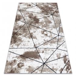 Covor modern COZY Polygons, geometric, triunghiurile - structural două niveluri de lână braun