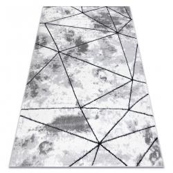 модерен килим COZY Polygons, геометричен, триъгълници structural две нива на руно сив