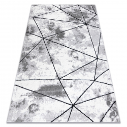 Modern carpet COZY Polygons, geometric, triangles - structural two levels of fleece grey