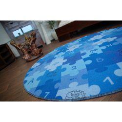 Okrúhly koberec PUZZLE modrá