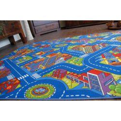 Utcák nagyváros szőnyegpadló szőnyeg kék