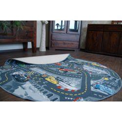Dětský kulatý koberec CARS Auta, popelavá