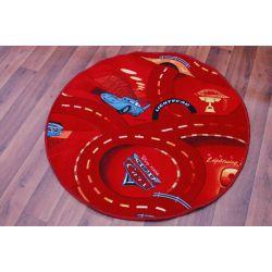 Dětský kulatý koberec CARS Auta, červená