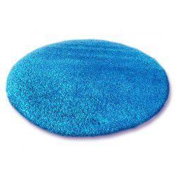 Kulatý koberec SHAGGY 5 cm modrý