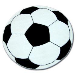 Covor copilăresc Happy - rotund Fotbal alb negru