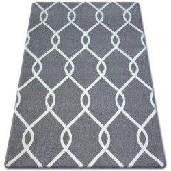 Koberec SKETCH - F934 Mříž, šedá, bílá