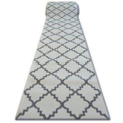 Alfombra de pasillo SKETCH F343 Enrejado Trébol marroquí blanco/gris